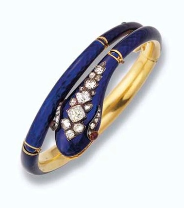 Blue enamel and diamond snake bracelet photo courtesy of Christie's