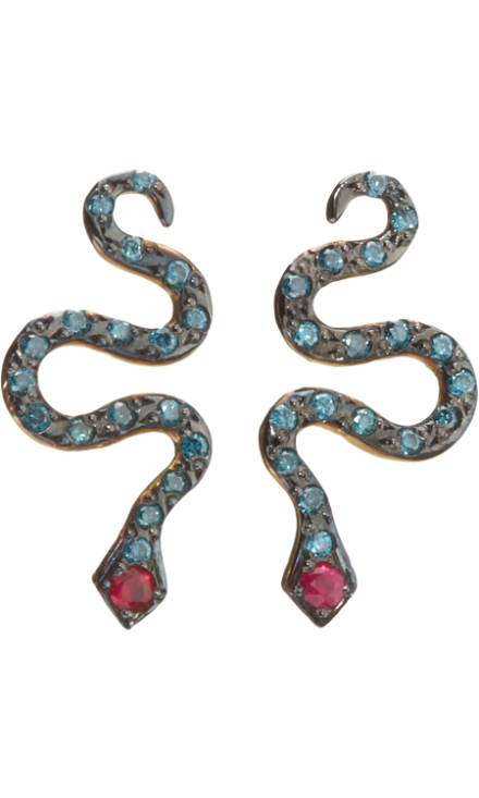 Ileana Makri turquoise and ruby snake earrings